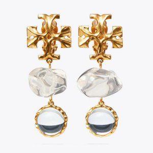 Tory Burch Crystal Double Drop Earrings